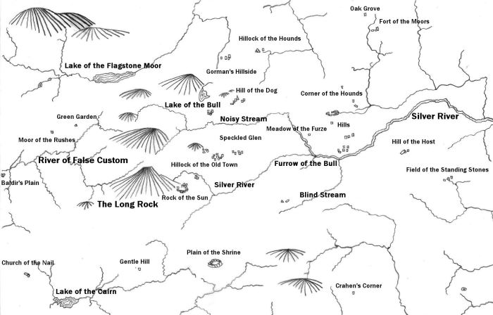 Translated sketch map of the townlands with monuments in the Carrigfadda area